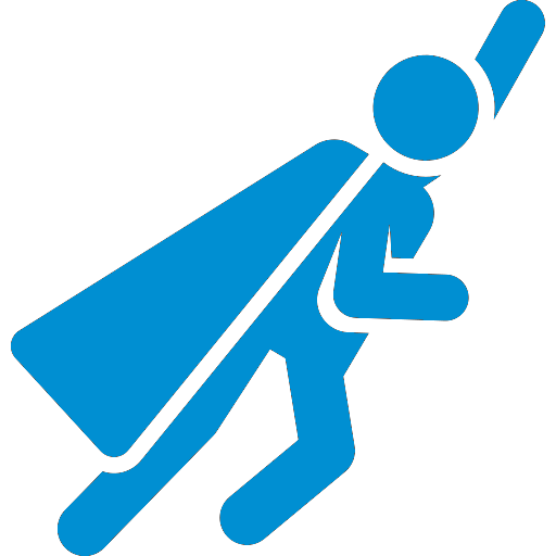 blue superhero icon